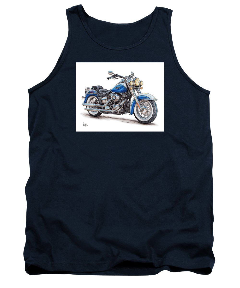 2015 Tank Top featuring the drawing 2015 Harley Softail Deluxe by Shannon Watts