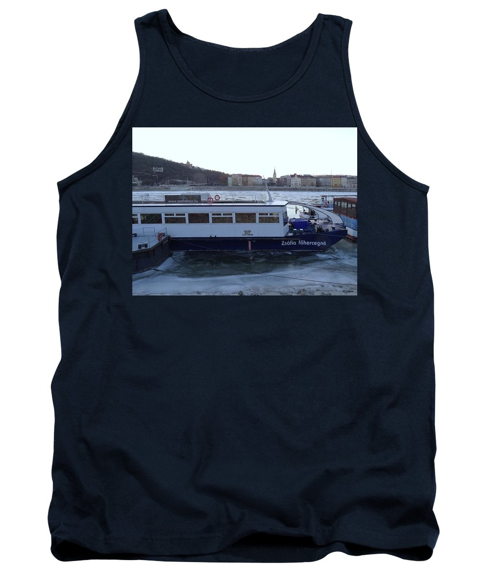 Danube Tank Top featuring the photograph Genre Picture By Frozen Danube by Explorer Lenses Photography