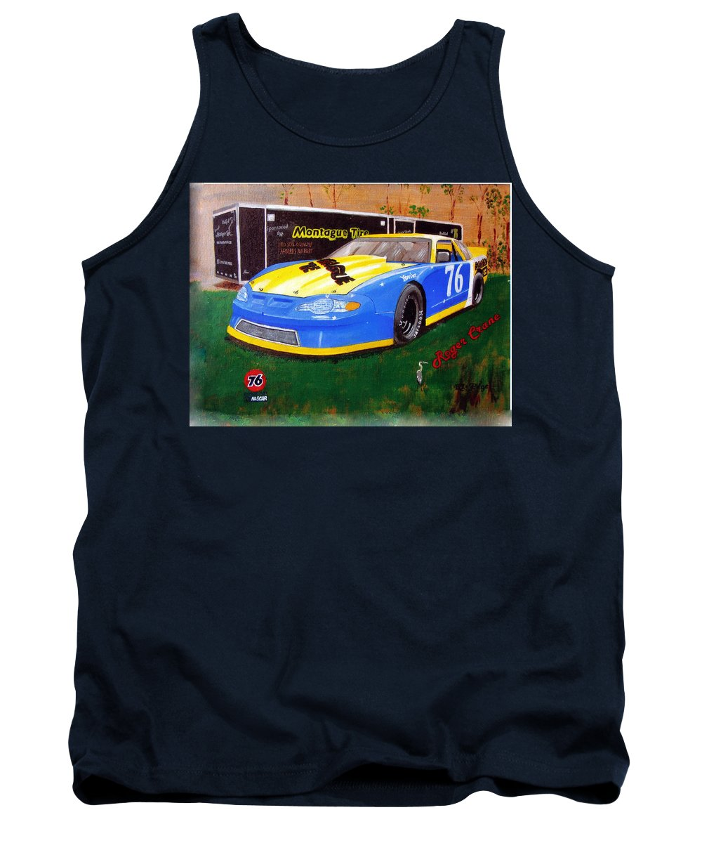 Nascar Tank Top featuring the painting 76 Roger Crane by Richard Le Page