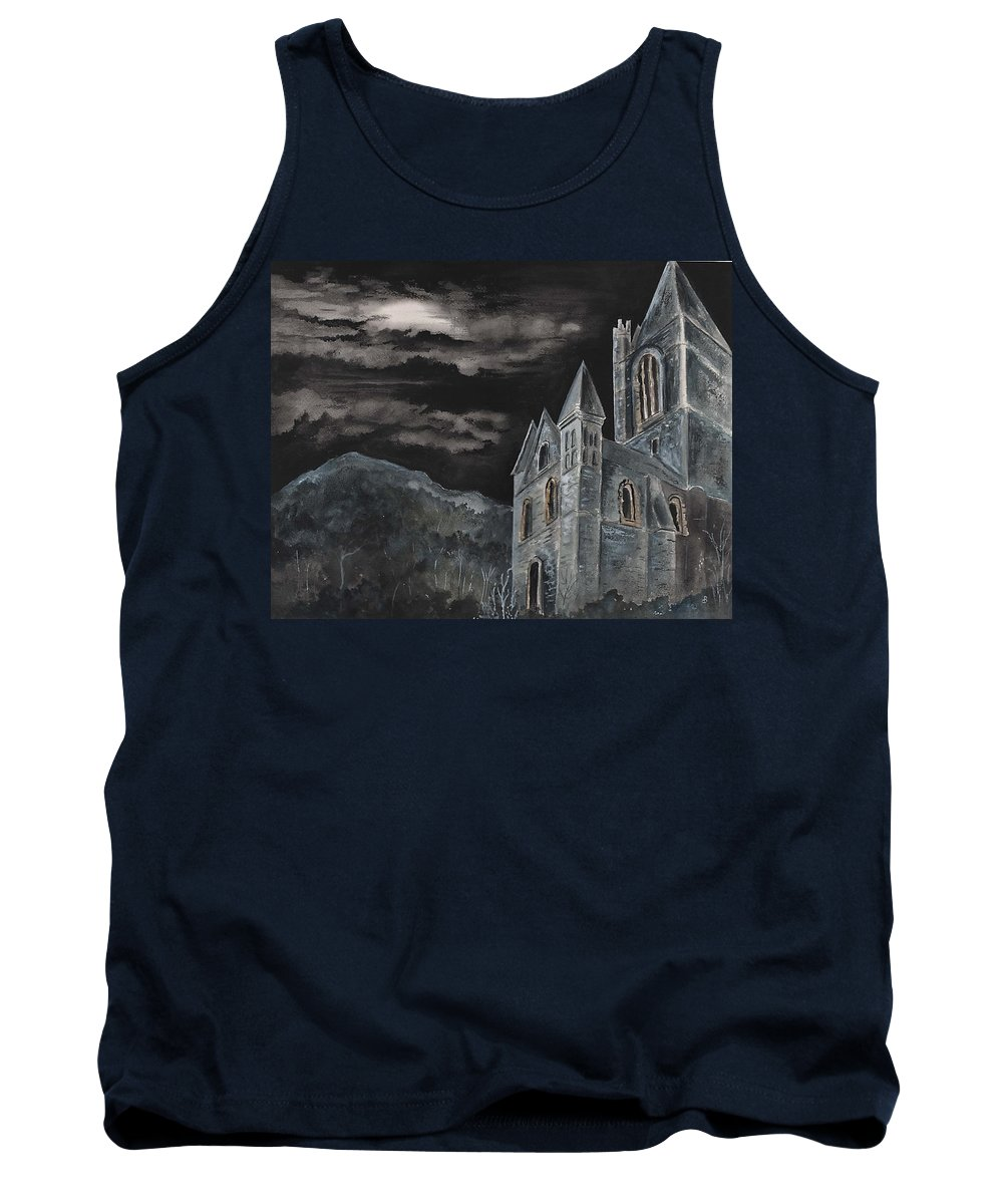Landscape Gothic House Castle Church Dark Sky Watercolor Tank Top featuring the painting A Dark Strange Night by Brenda Owen
