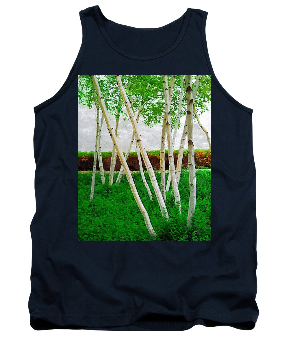 Trees Tank Top featuring the photograph A Grove Of Birches 1 by Tom Reynen