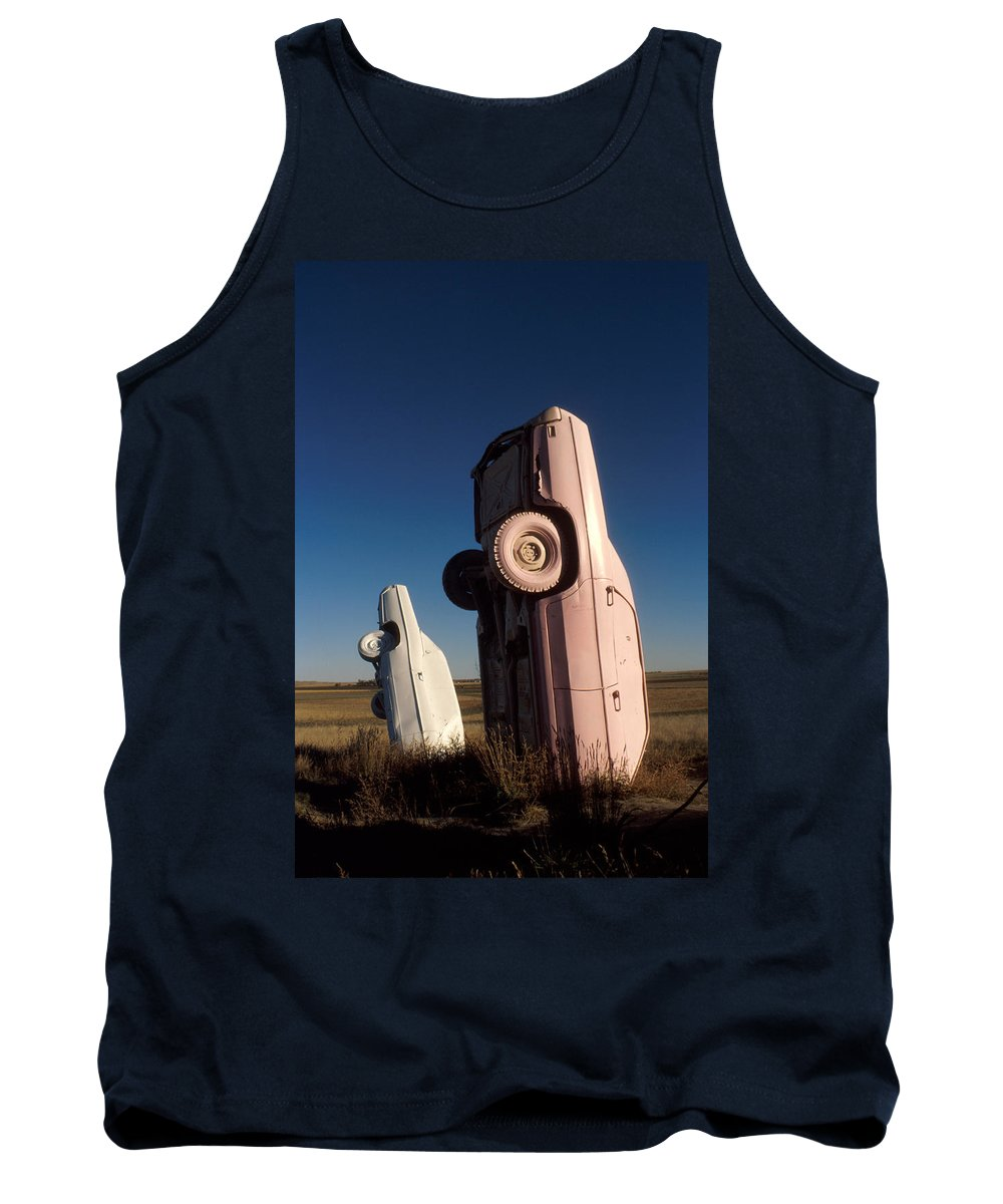 Carhenge Tank Top featuring the photograph A Pink Caddilac In The Morning by Jerry McElroy