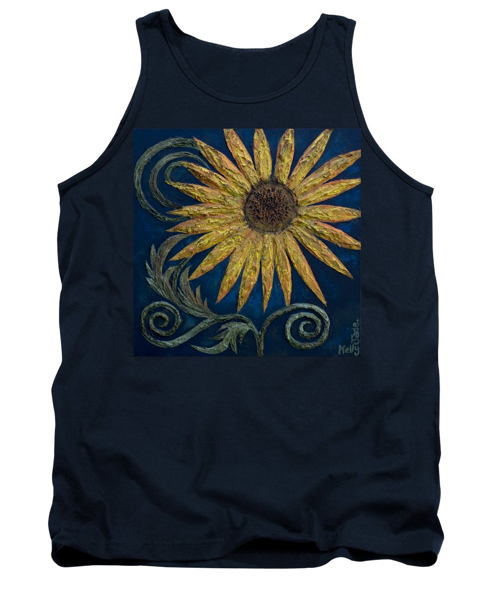 Sunflower Tank Top featuring the painting A Sunflower by Kelly Jade King