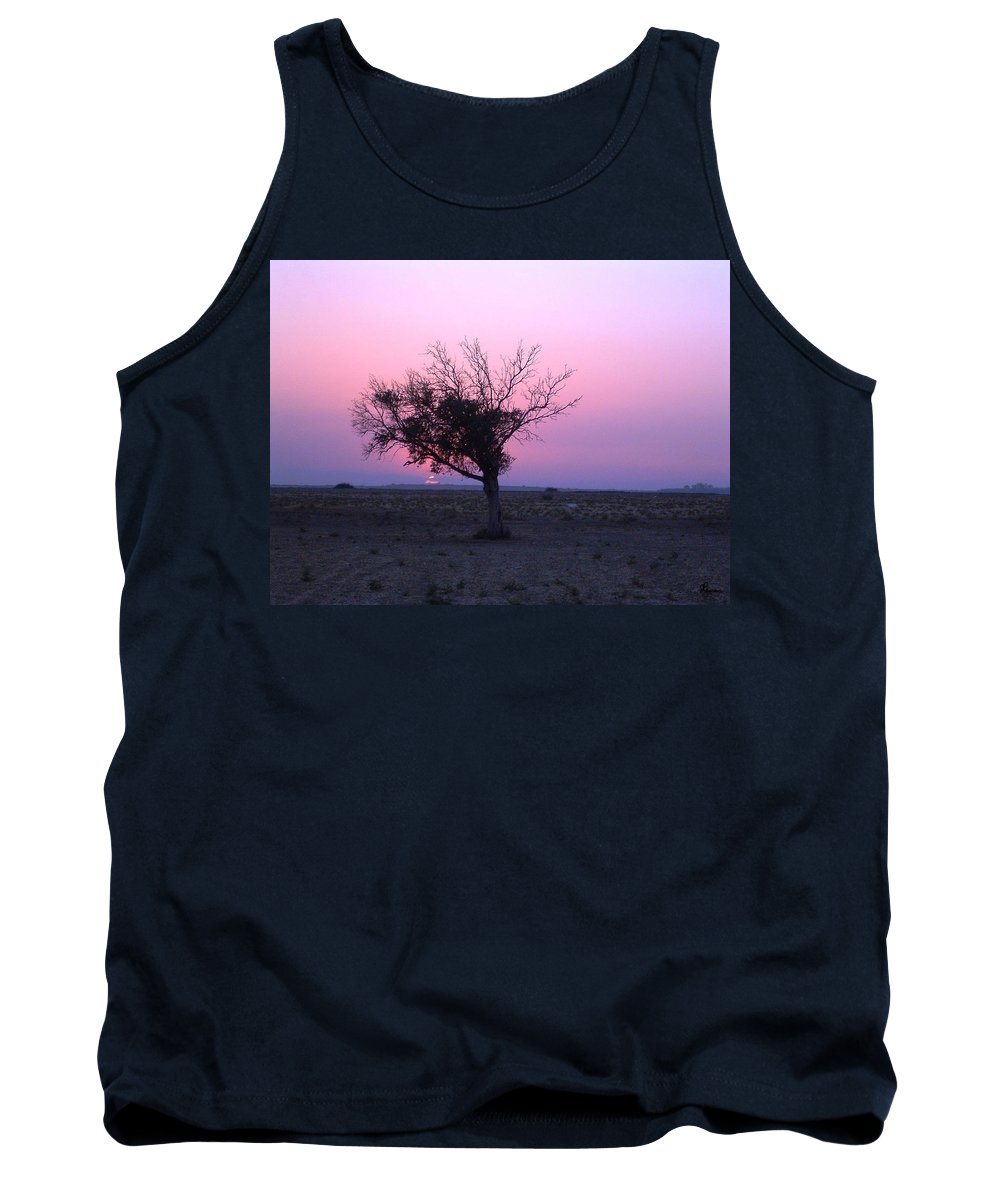 Lone Tree Sunset Purple Sky Desert Isolated Lonely Baron Land Tank Top featuring the photograph A Touch Of Alone by Andrea Lawrence