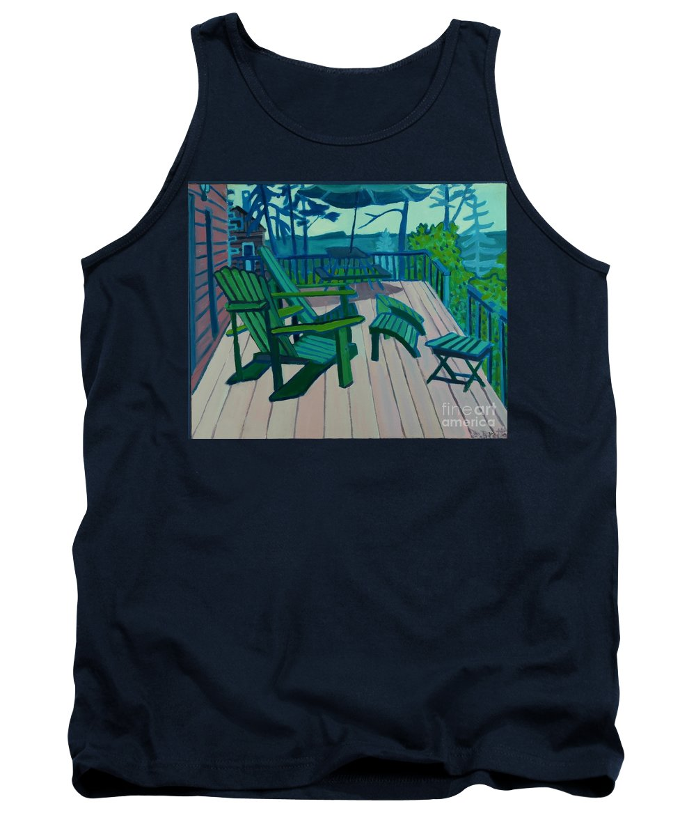 Ocean Tank Top featuring the painting Adirondack Chairs Maine by Debra Bretton Robinson