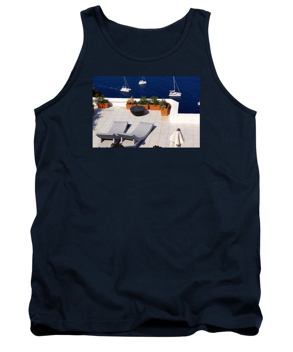 Balcony Tank Top featuring the photograph Aegean Wonderland by Ron Koivisto