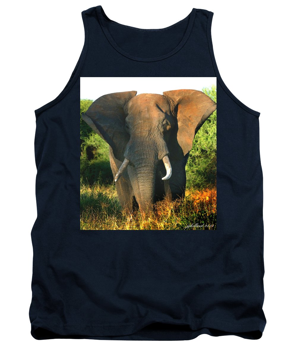 African Bull Elephant Tank Top featuring the photograph African Bull Elephant by Joseph G Holland