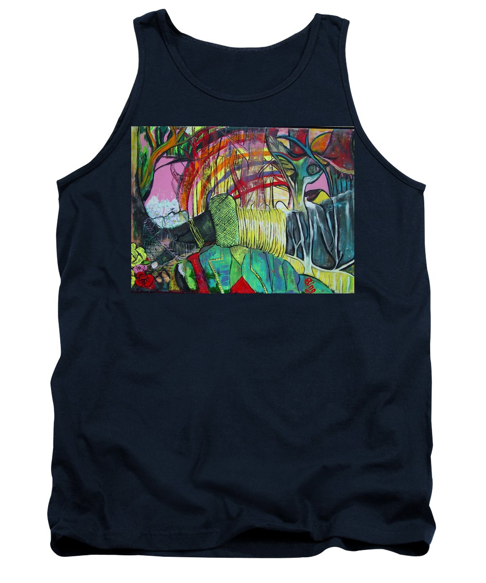 African Lady With Baby Tank Top featuring the painting African Roots by Peggy Blood