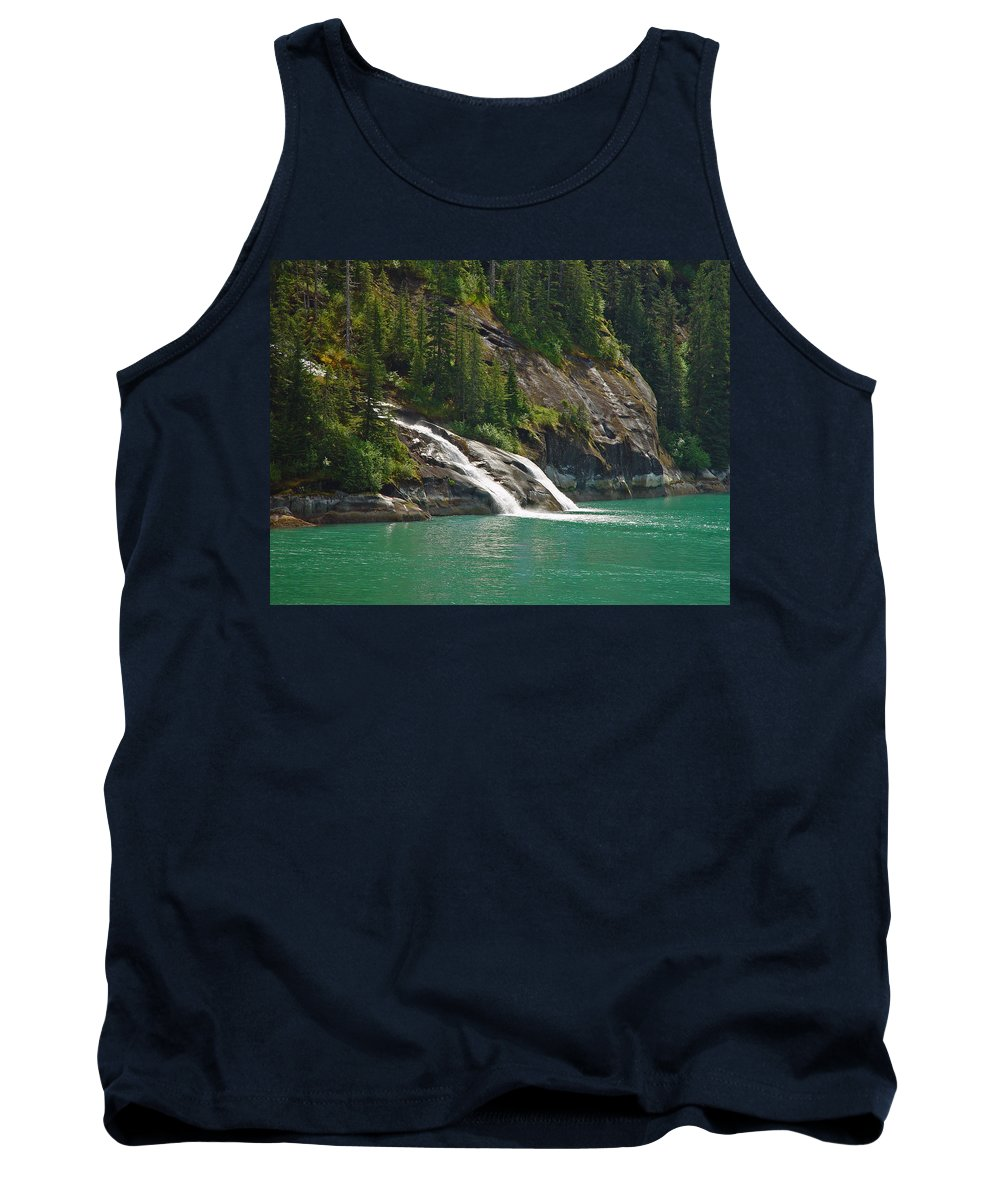 Waterfall Tank Top featuring the photograph Alaska Tracy Arm by Heather Coen