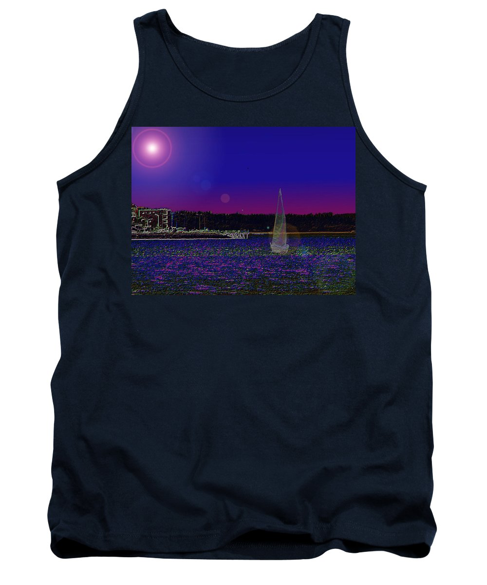 Seattle Tank Top featuring the digital art Alki Ghost Sail by Tim Allen