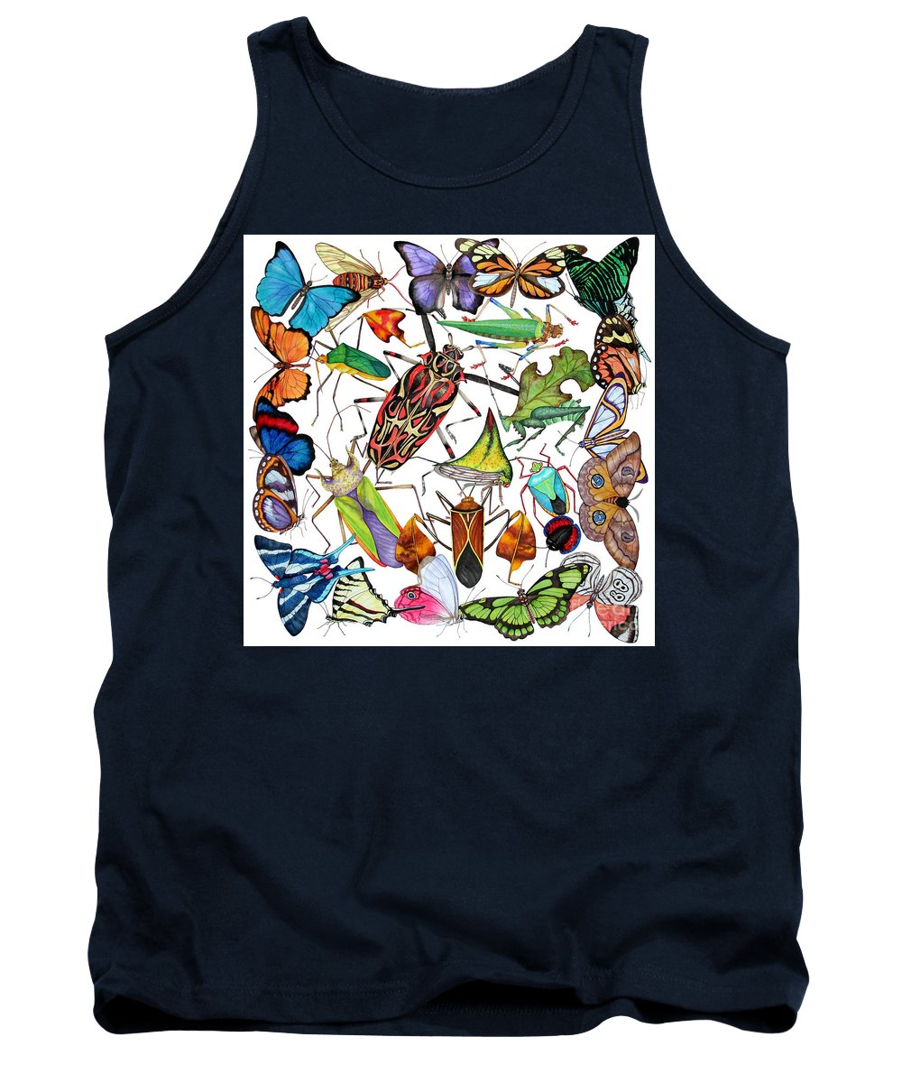 Insects Tank Top featuring the painting Amazon Insects by Lucy Arnold