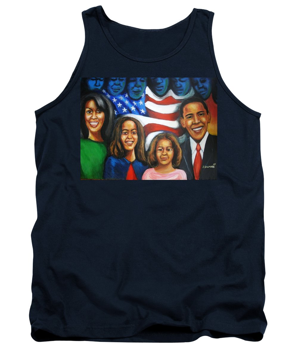 White House Tank Top featuring the painting America's First Family by Jan Gilmore