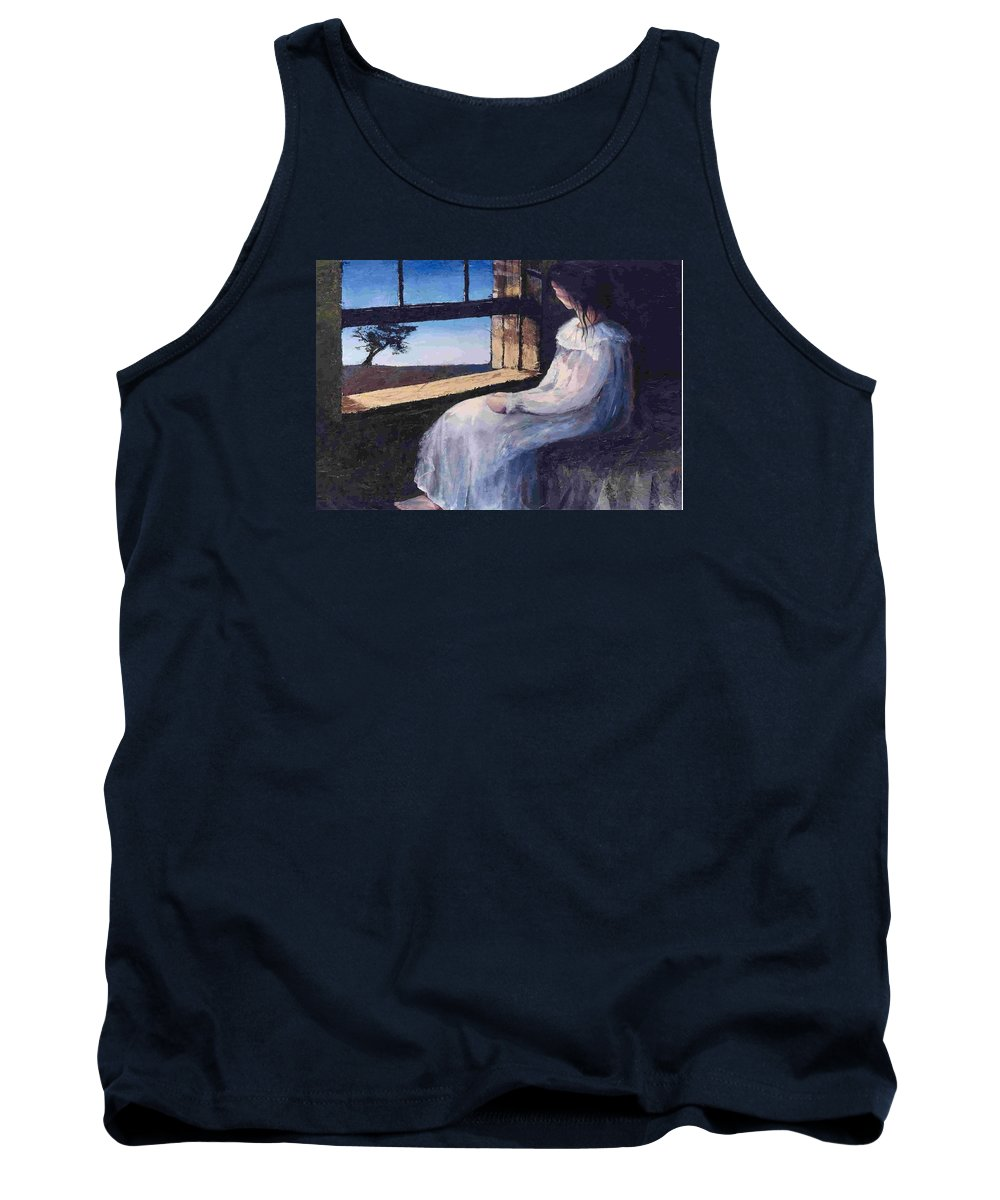 Woman In Window Tank Top featuring the painting Another Sleepless Night by Janet Lavida