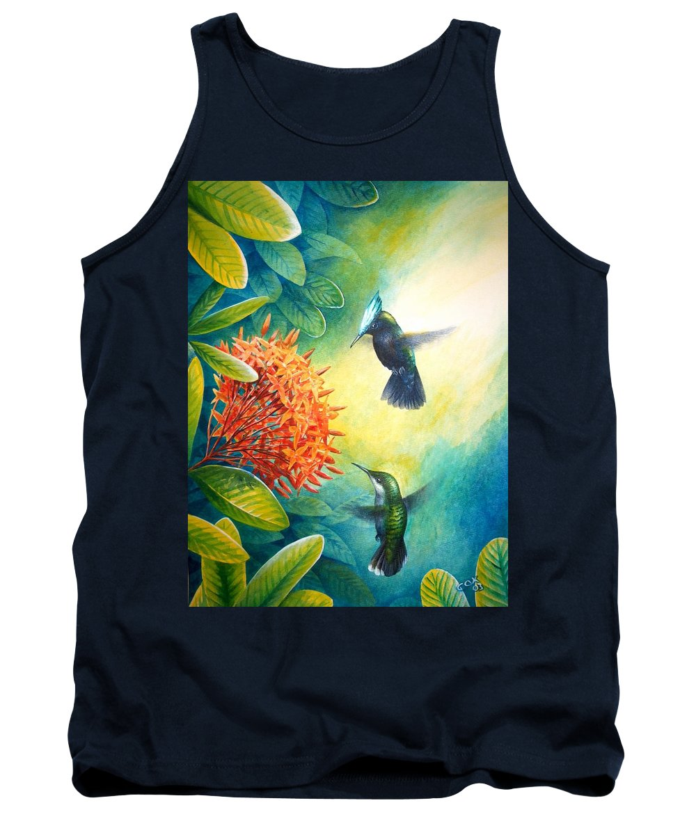 Chris Cox Tank Top featuring the painting Antillean Crested Hummingbirds And Ixora by Christopher Cox