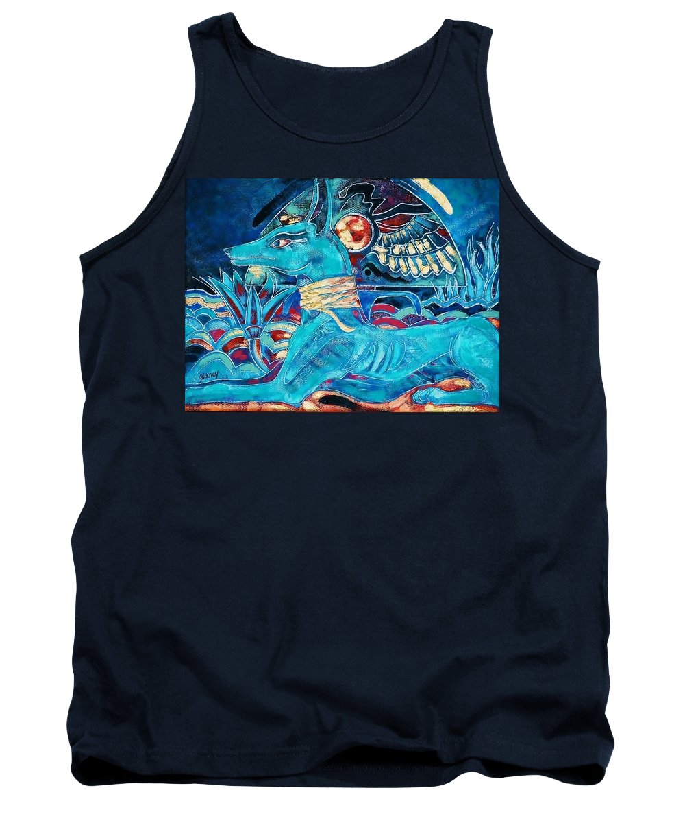 Ancient Egyptian God. Mythology. Religion. Anubis. Jackel. Tank Top featuring the painting Anubis by Patrick Stickney