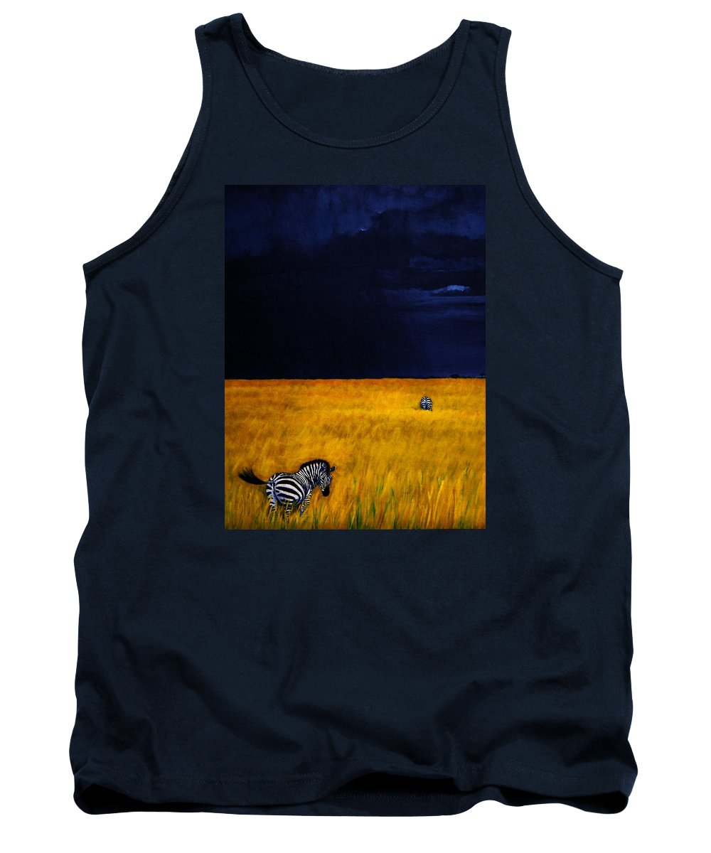African Landscape Zebra Storm Clouds Edith Peterson Watson Scenery Nature Animals Wildlife Tank Top featuring the painting Approaching Storm by Edith Peterson-Watson