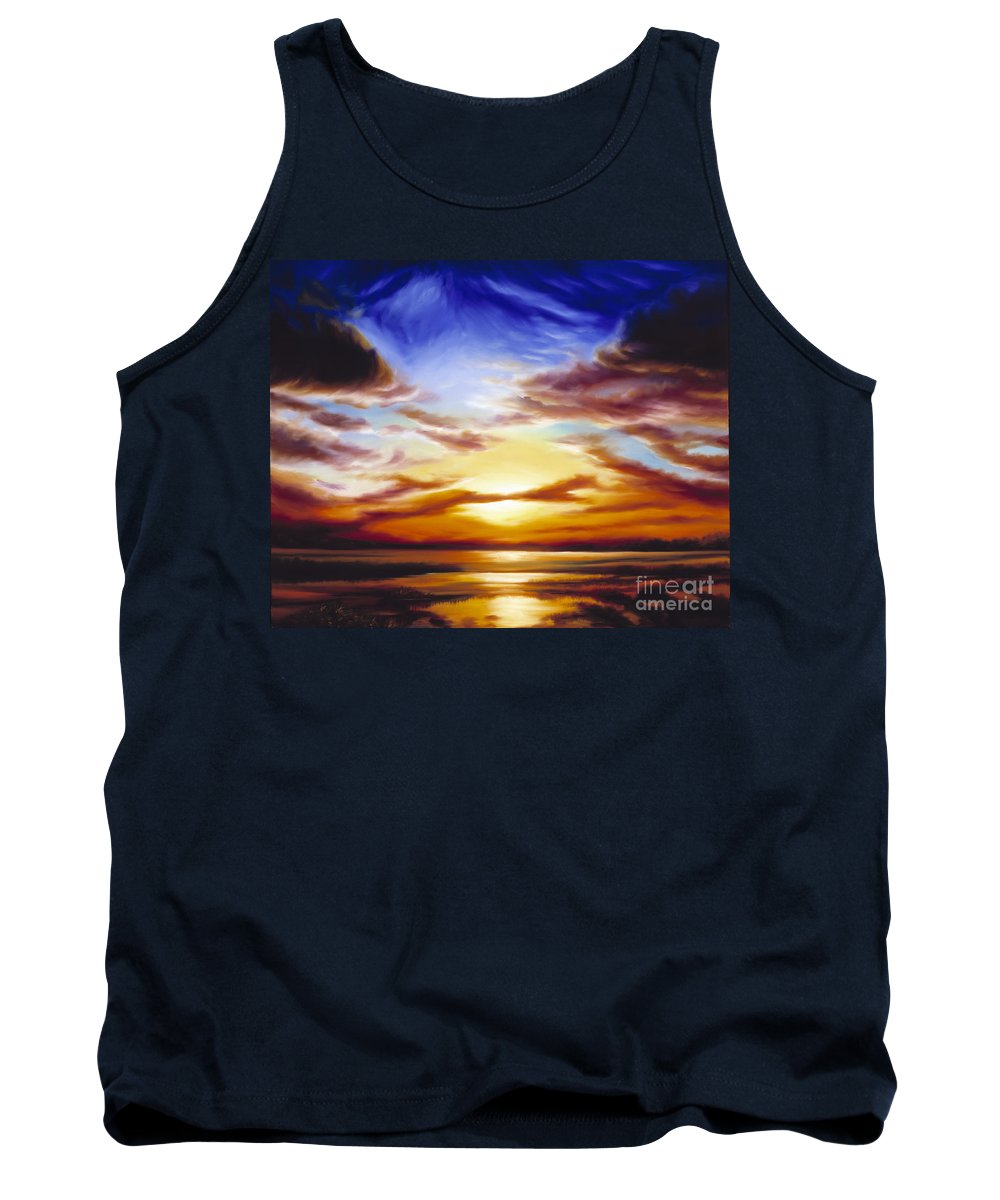 Skyscape Tank Top featuring the painting As The Sun Sets by James Christopher Hill