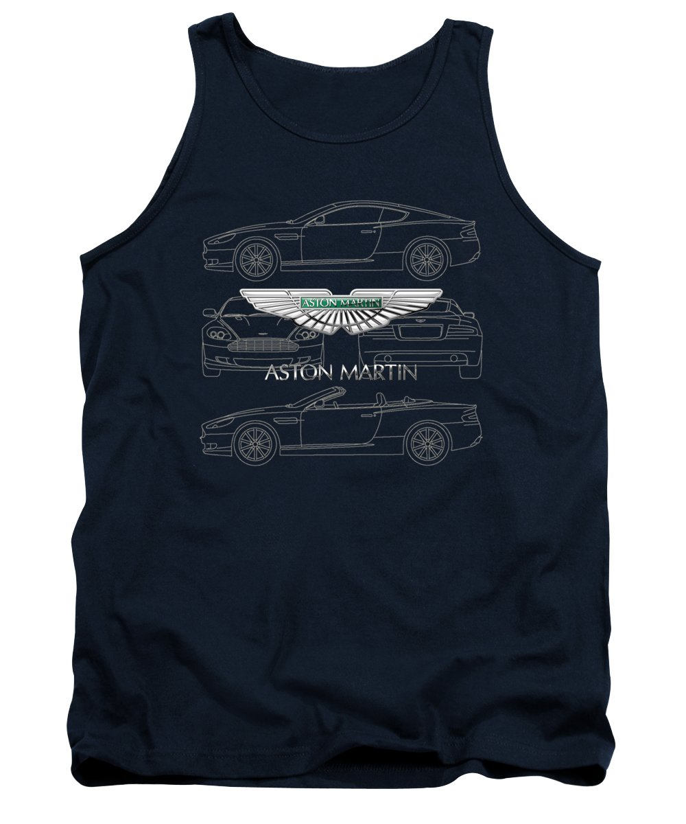 Wheels Of Fortune By Serge Averbukh Tank Top featuring the photograph Aston Martin 3 D Badge Over Aston Martin D B 9 Blueprint by Serge Averbukh