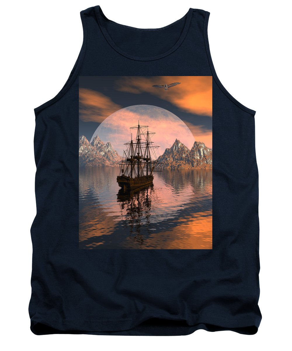 Bryce 3d Digital Fantasy Scifi Windjammer Sailing Tank Top featuring the digital art At Anchor by Claude McCoy