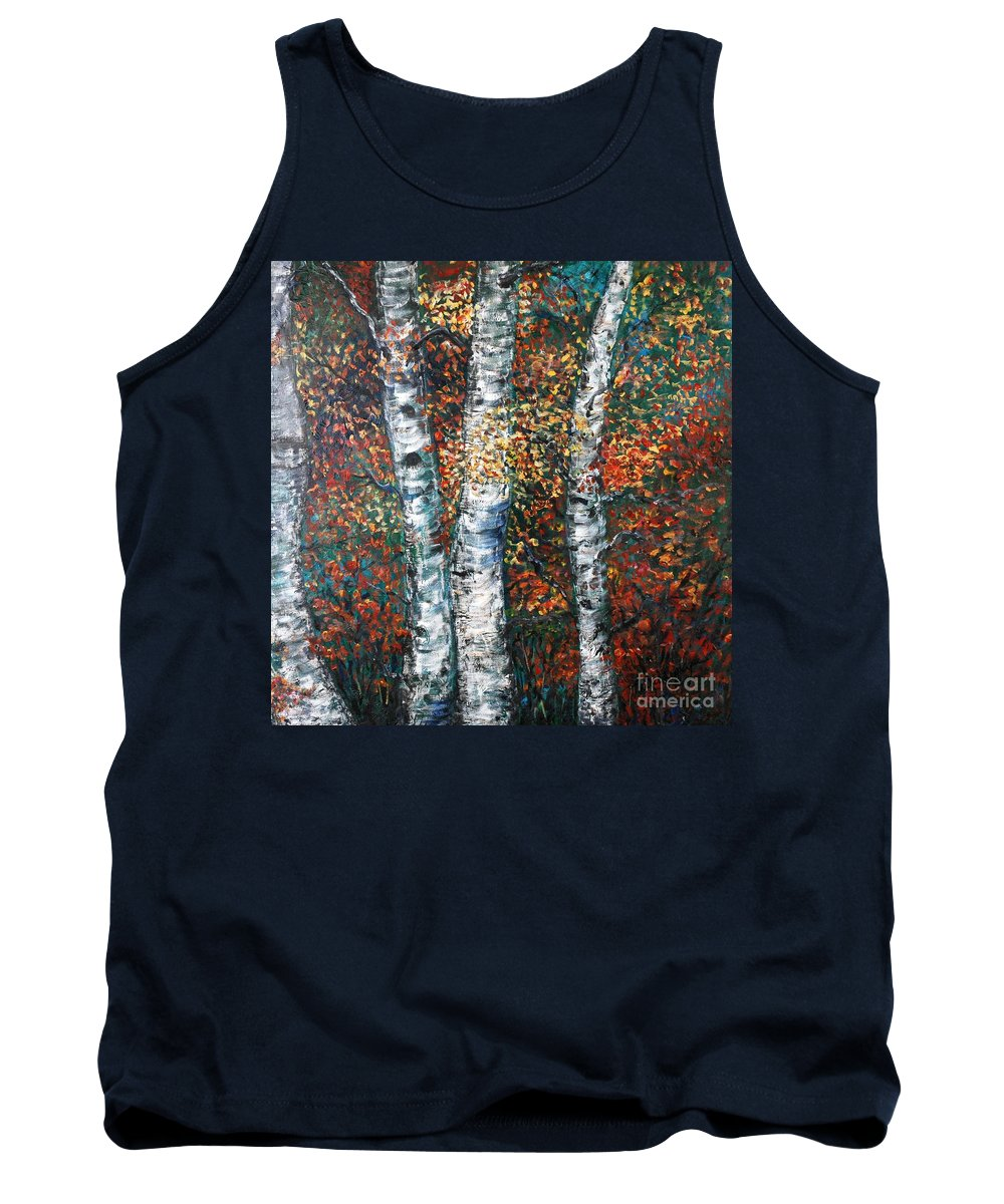 Birch Tank Top featuring the painting Autumn Birch by Nadine Rippelmeyer