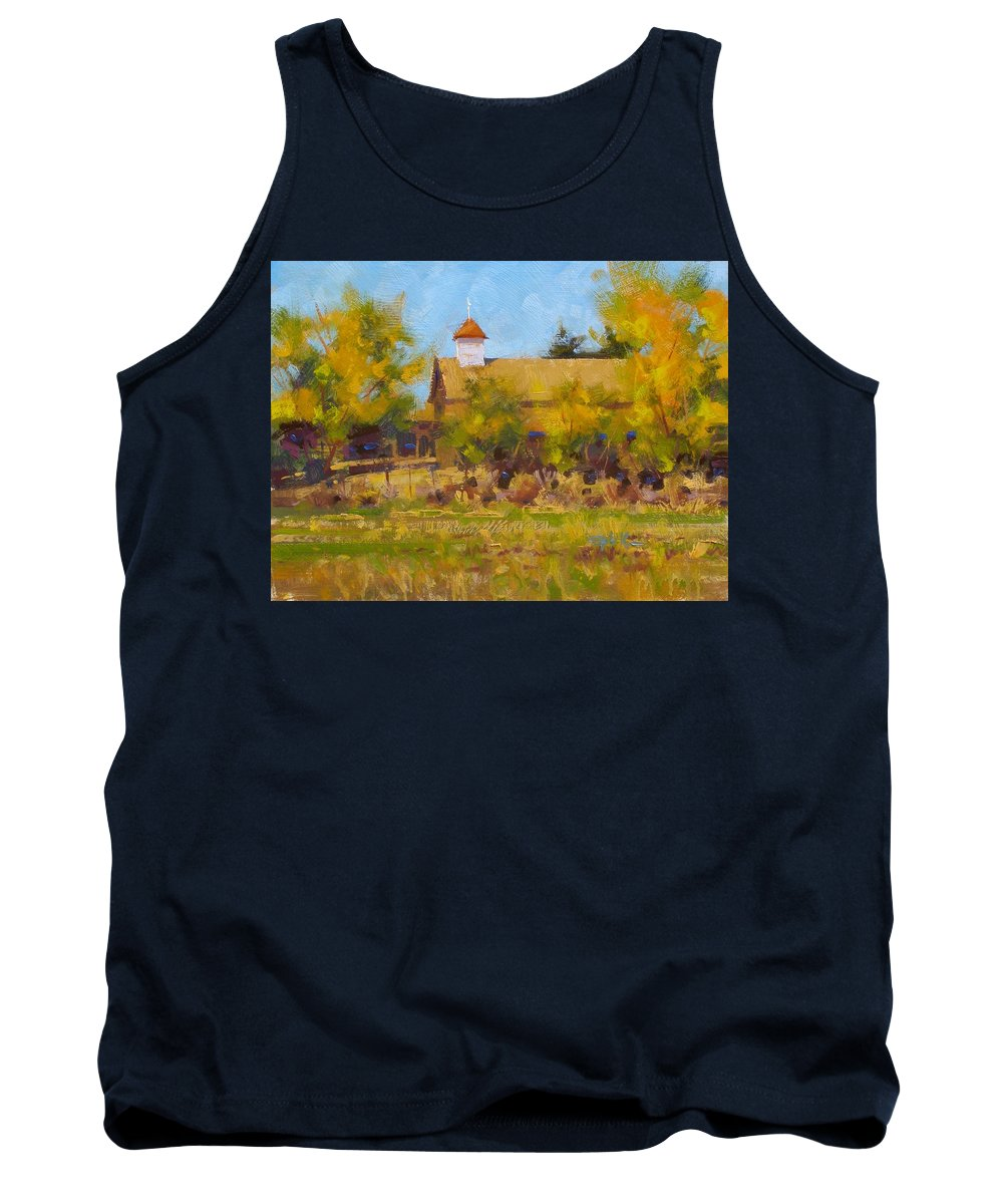 Fineart Tank Top featuring the painting Autumn Church Taos by Spike Ress