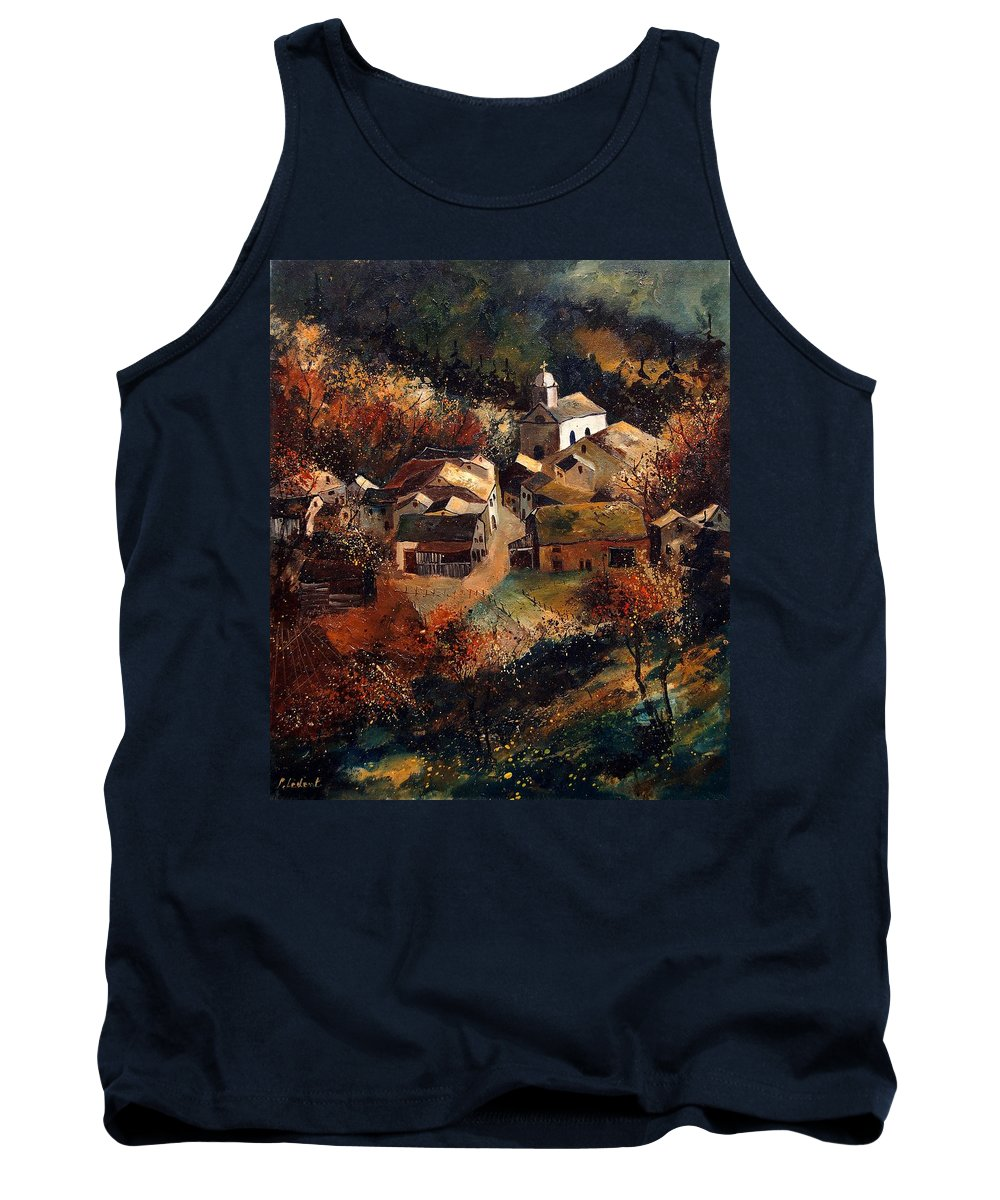 Tree Tank Top featuring the painting Autumn In Frahan by Pol Ledent