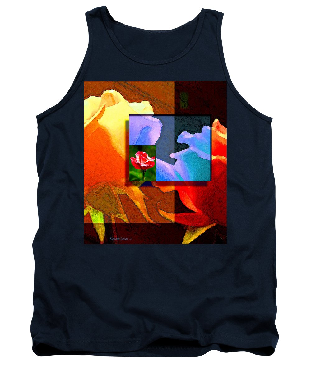 Modern Tank Top featuring the digital art Backlit Roses by Stephen Lucas