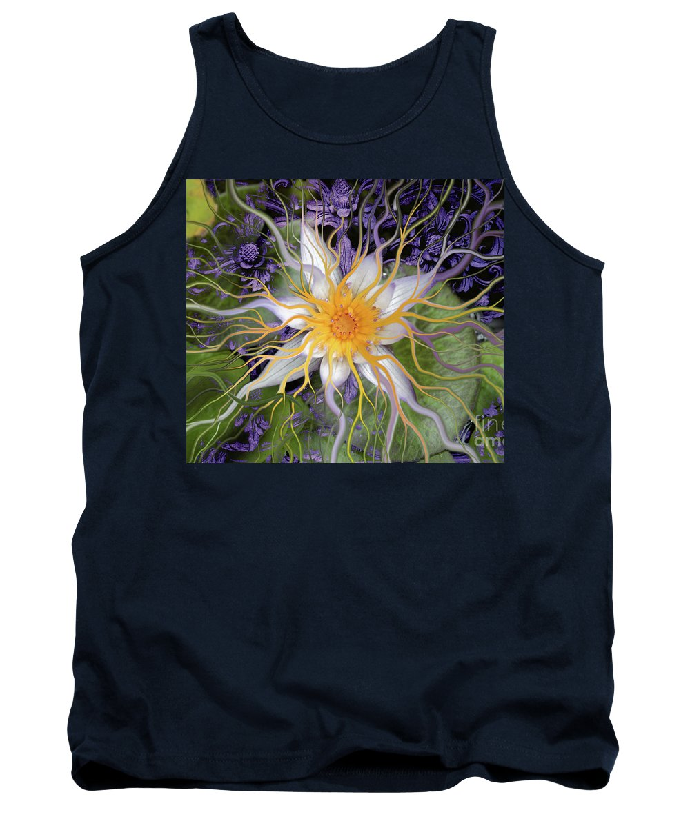 Lotus Tank Top featuring the painting Bali Dream Flower by Christopher Beikmann