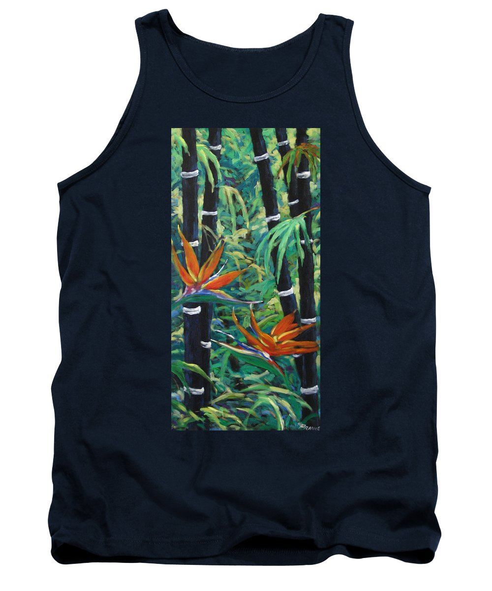 Bamboo Tank Top featuring the painting Bamboo And Birds Of Paradise by Richard T Pranke