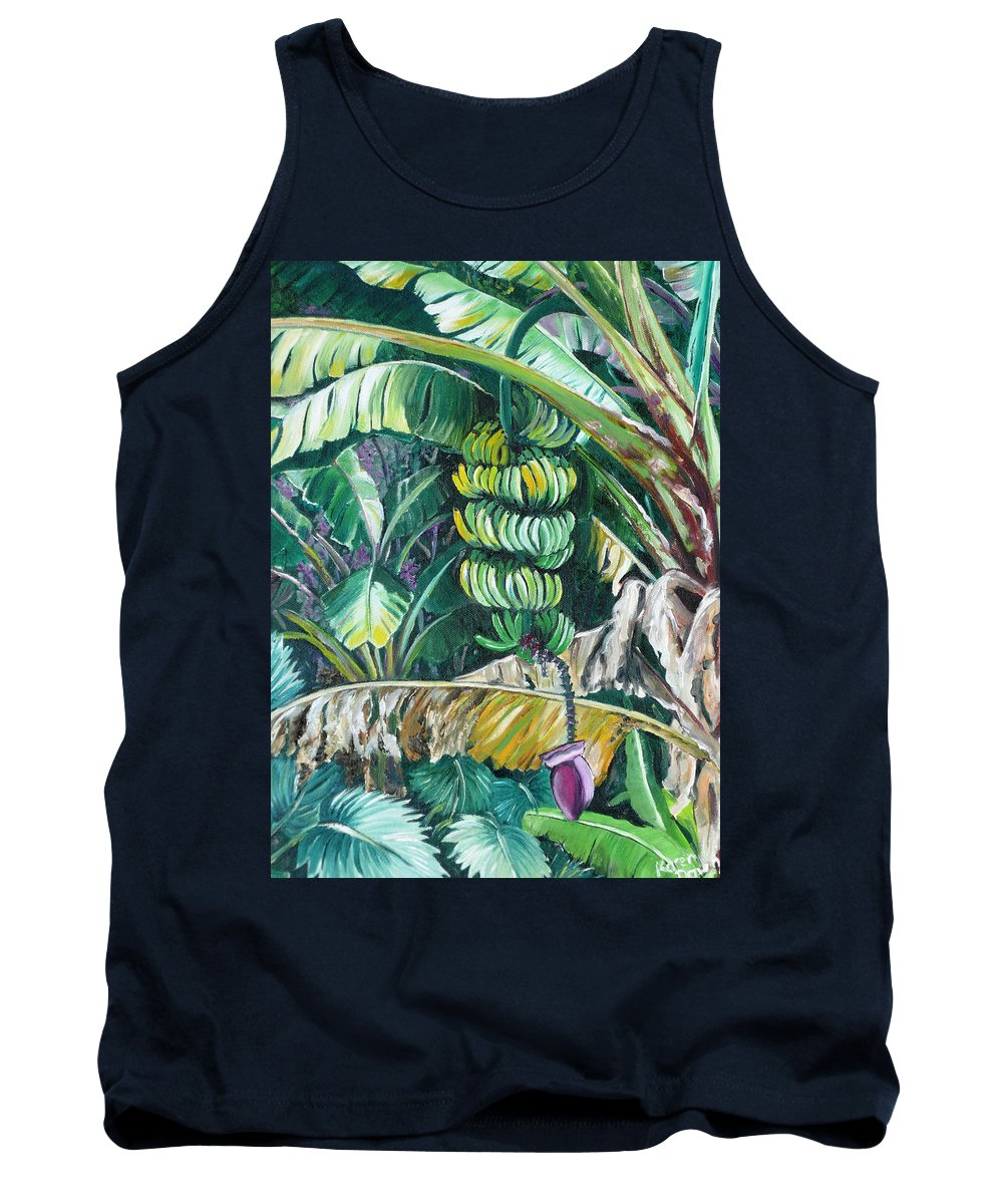 Caribbean Painting Bananas Trees P Painting Fruit Painting Tropical Painting Tank Top featuring the painting Bananas by Karin Dawn Kelshall- Best