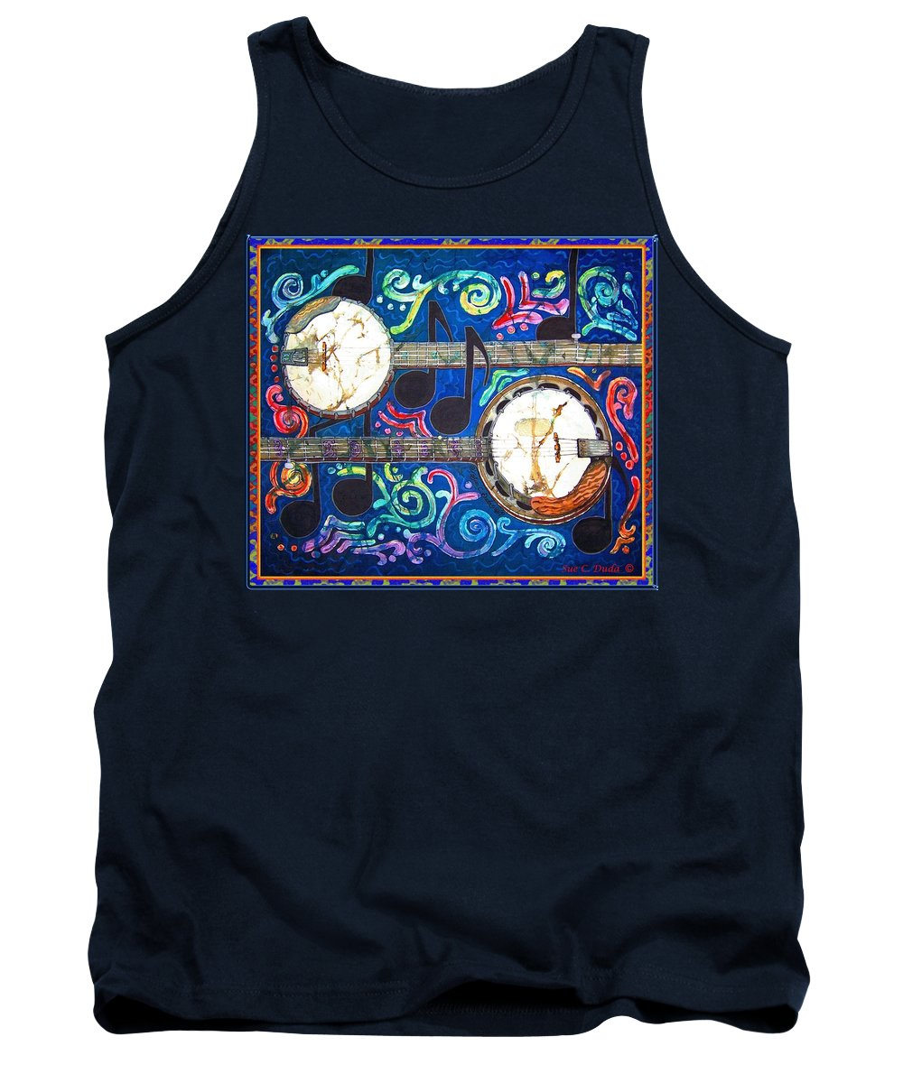 Banjo Tank Top featuring the painting Banjos - Bordered by Sue Duda
