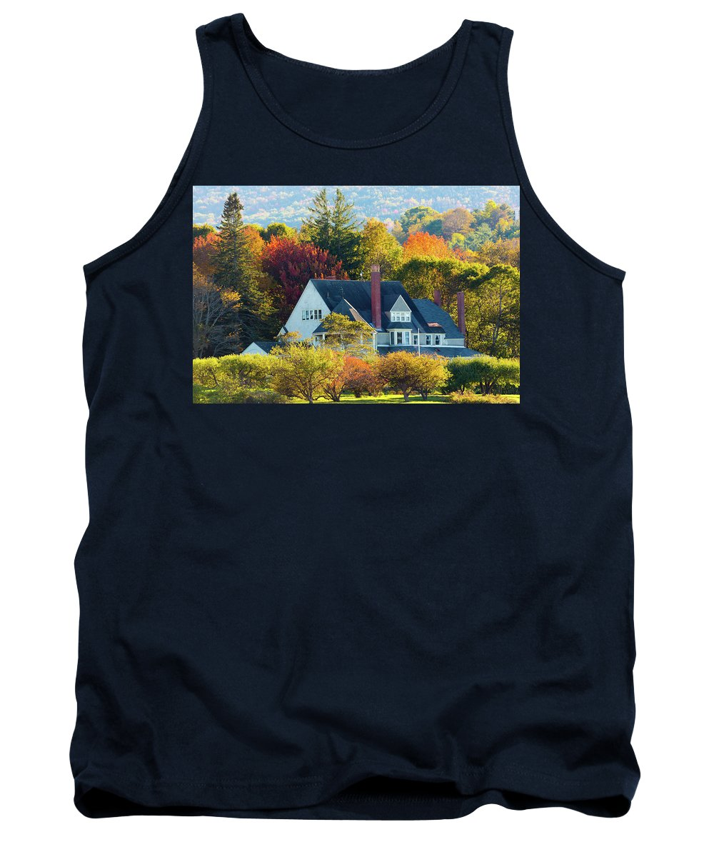 Fall Tank Top featuring the photograph Bar Harbor Autumn House by Brian Knott Photography