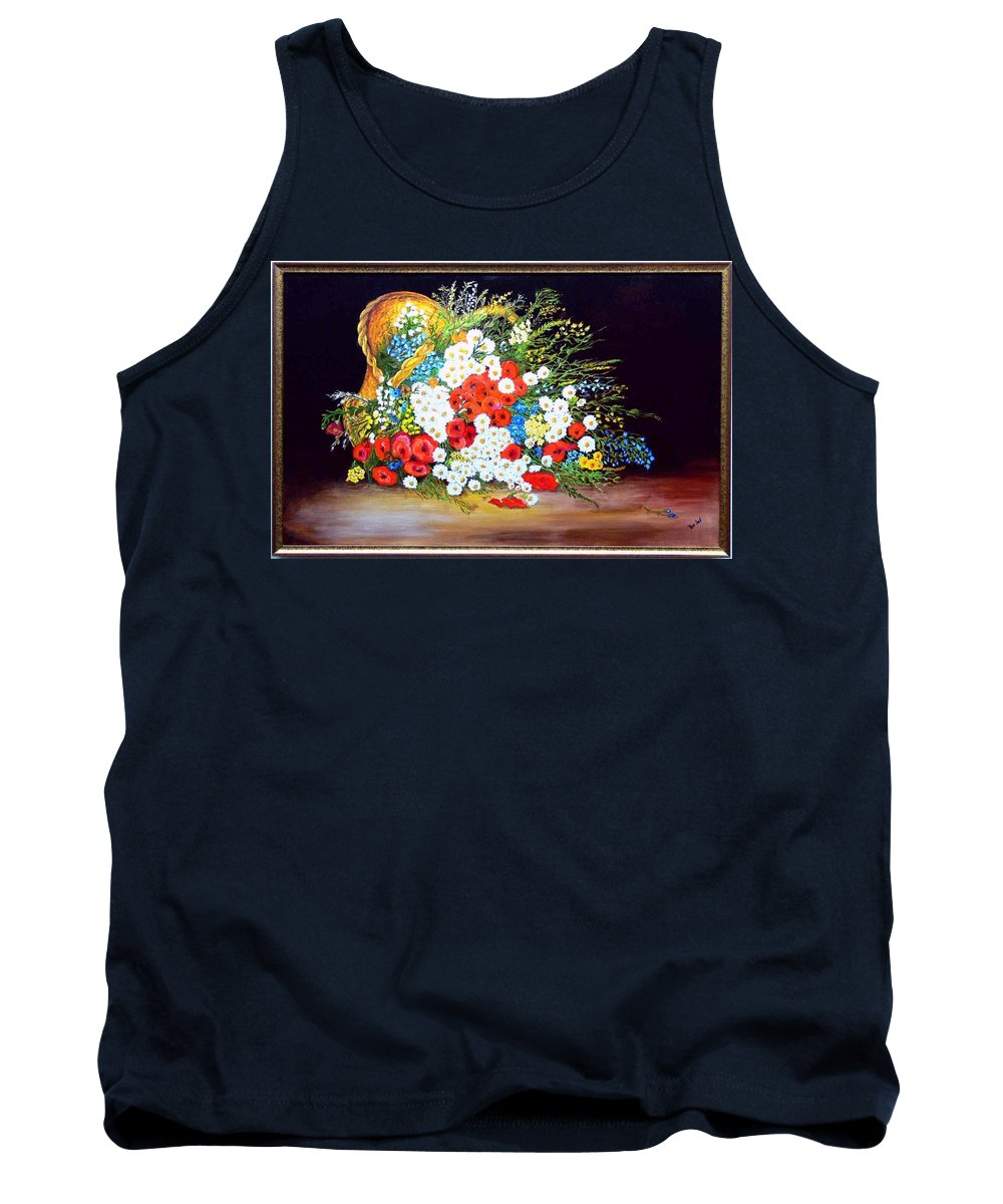 Summer Tank Top featuring the painting Basket With Summer Flowers by Helmut Rottler