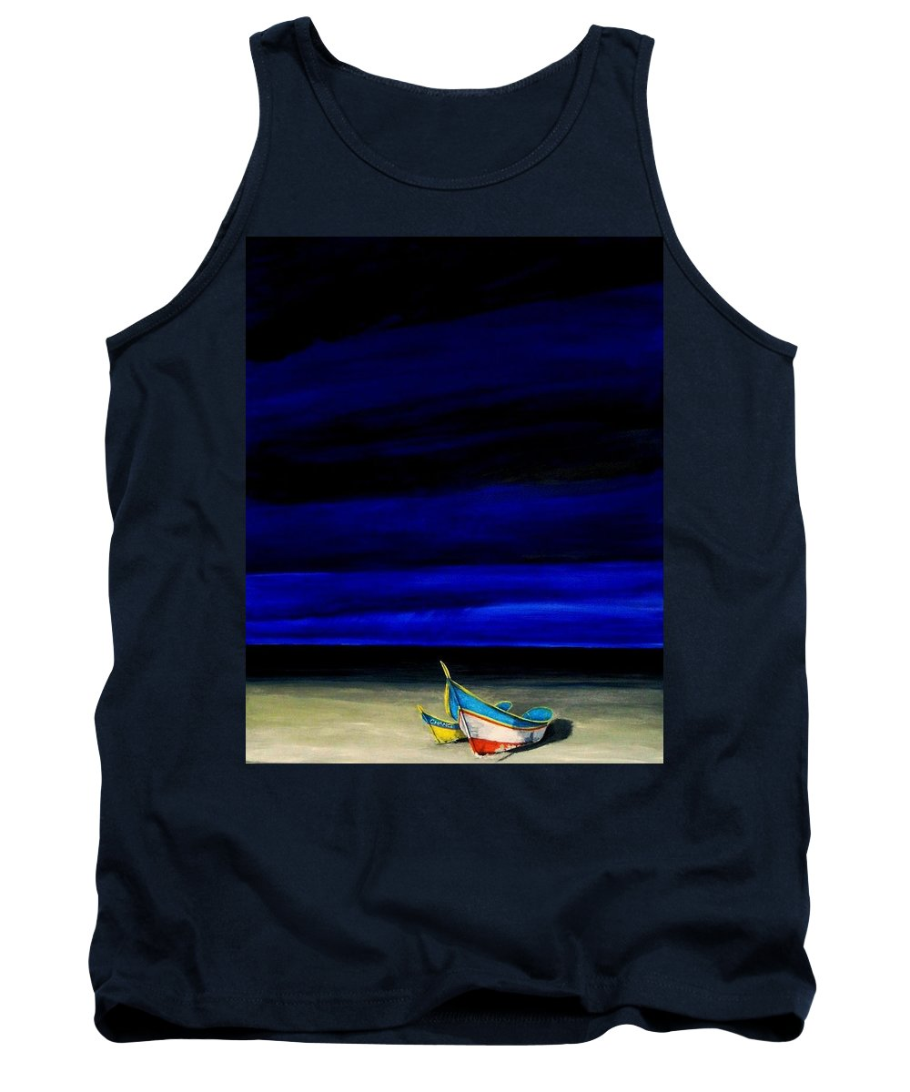 Landscape Painting Tank Top featuring the painting Beached by Edith Peterson-Watson