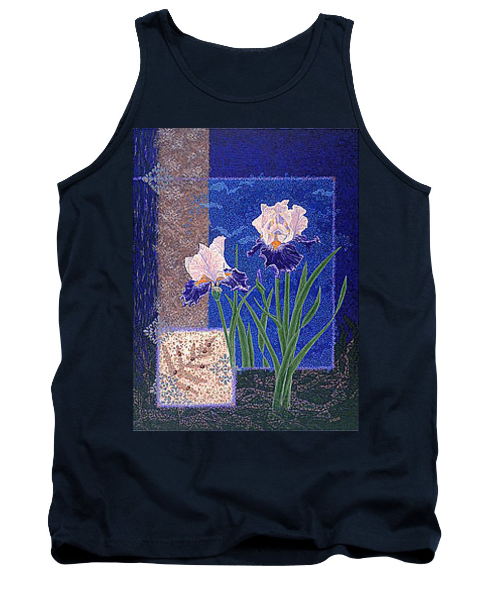 Irises Tank Top featuring the painting Bearded Irises Fine Art Print Giclee Ladybug Path by Baslee Troutman