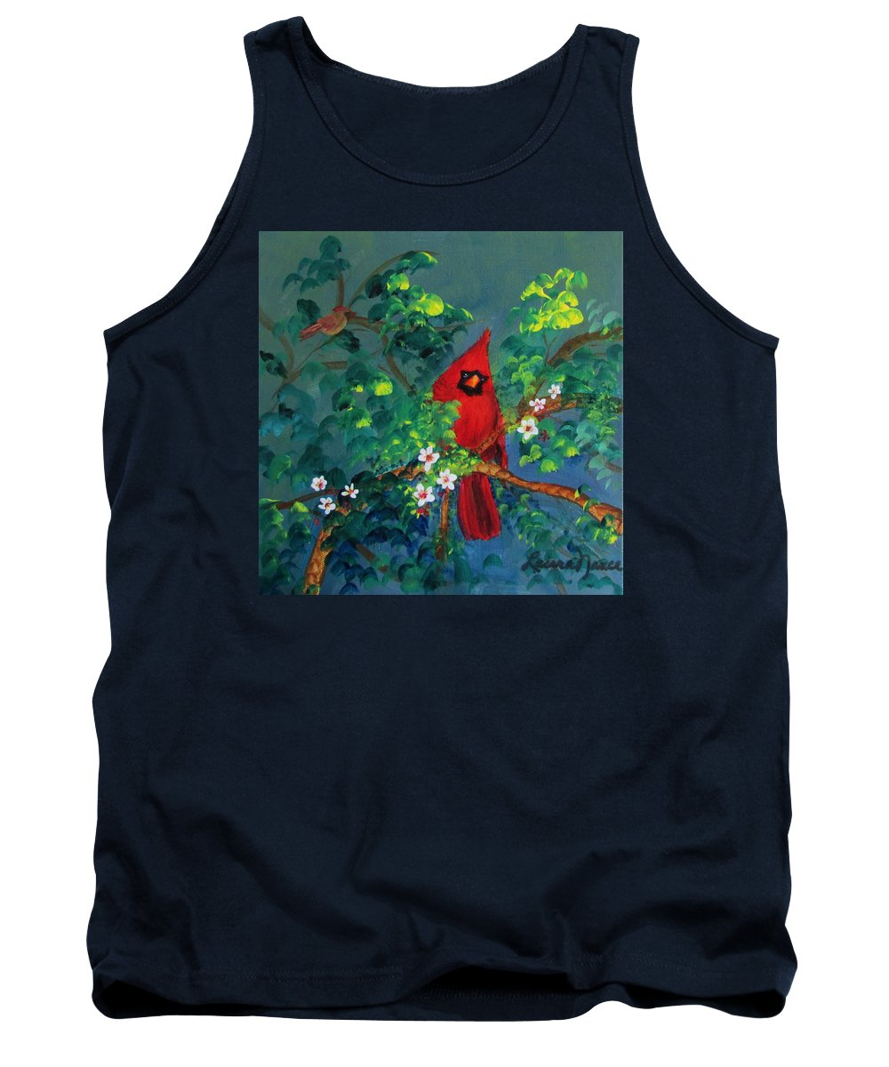Cardinals Tank Top featuring the painting Big Red by Laura Nance
