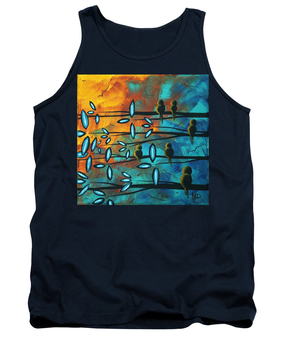 Art Tank Top featuring the painting Birds Of Summer By Madart by Megan Duncanson