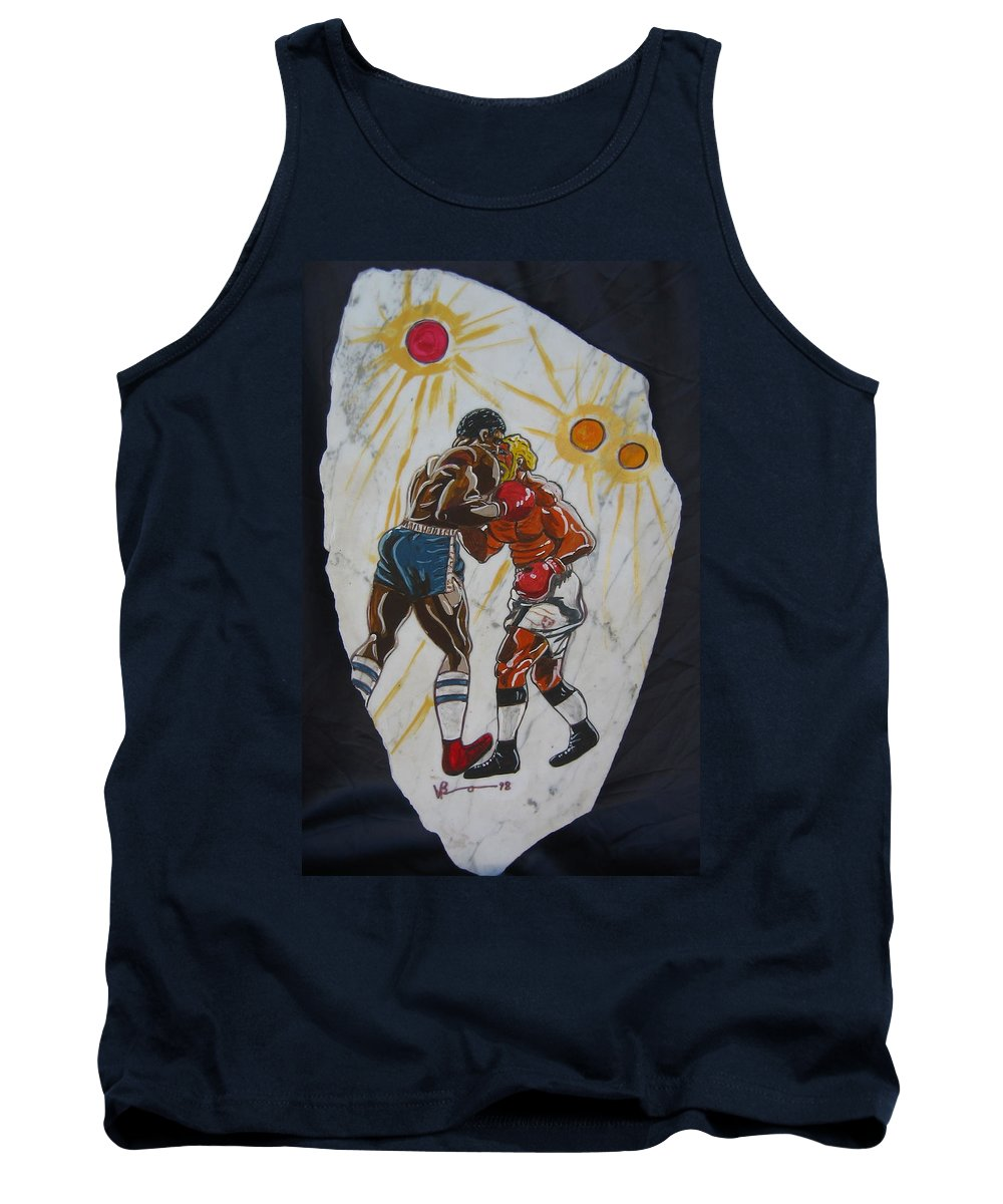 Boxing Tank Top featuring the mixed media Black And White by V Boge