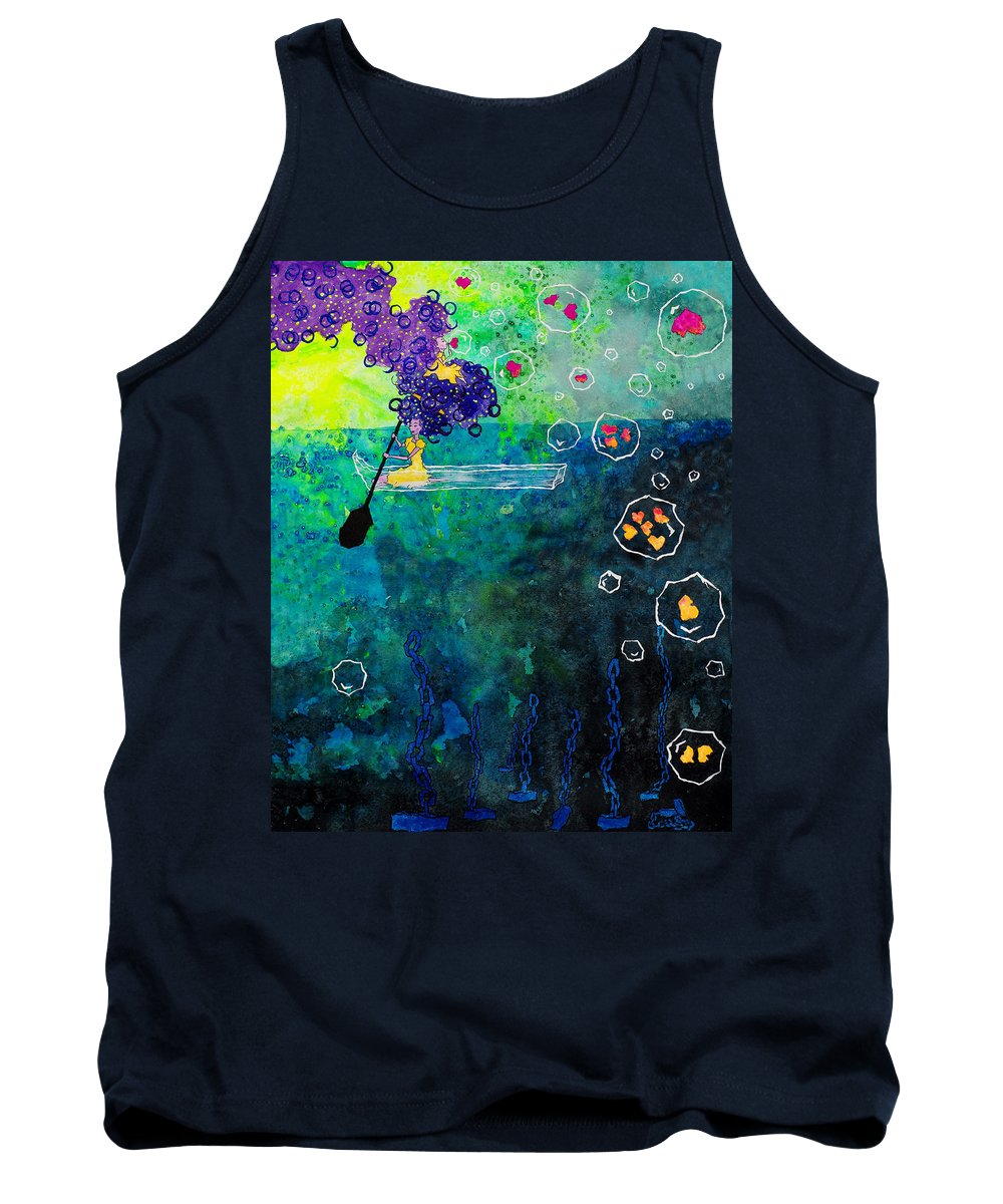 The Rocket Twins Tank Top featuring the painting Black Oar by Charlotte Schuler