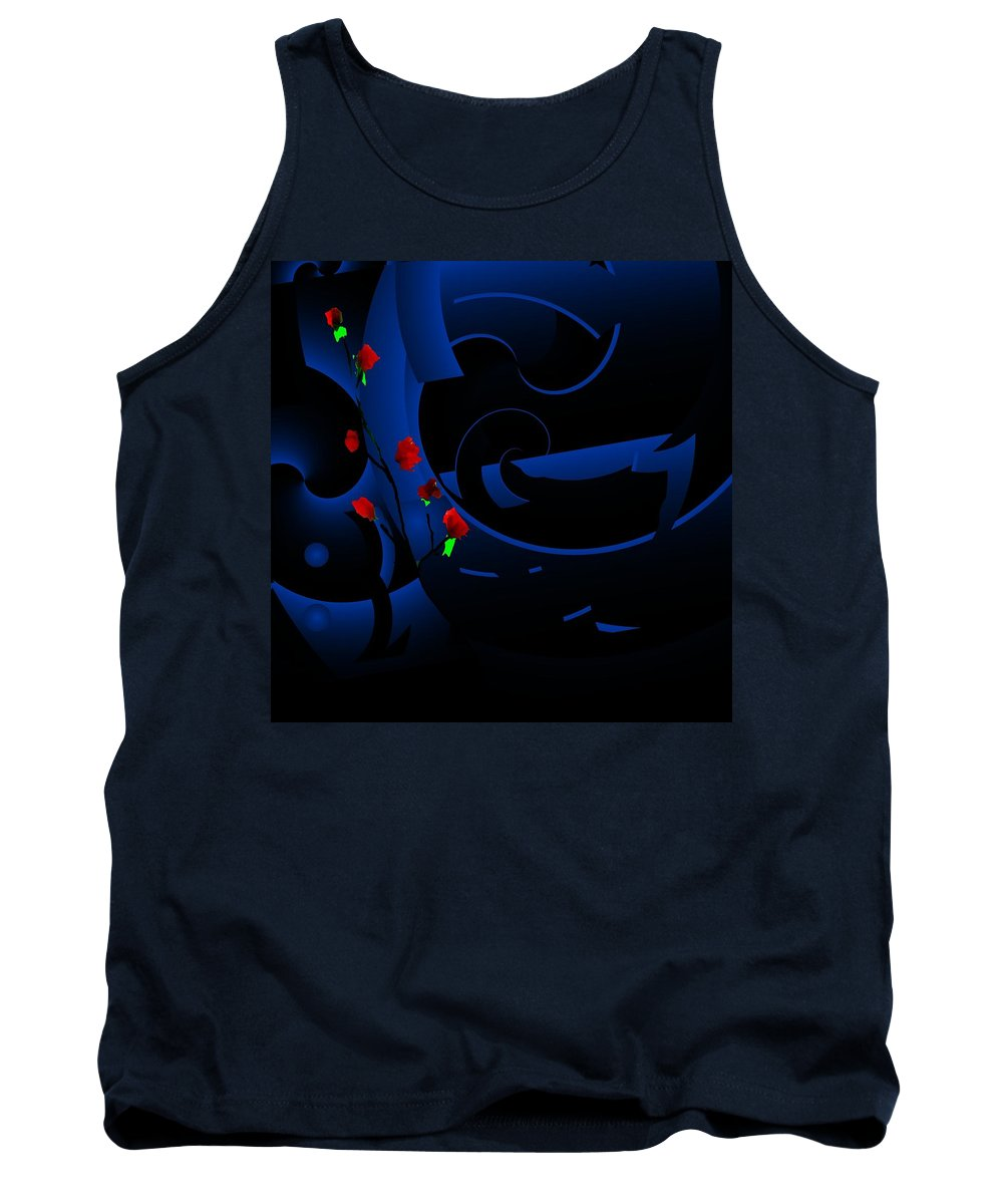 Abstract Tank Top featuring the digital art Blue Abstract by David Lane