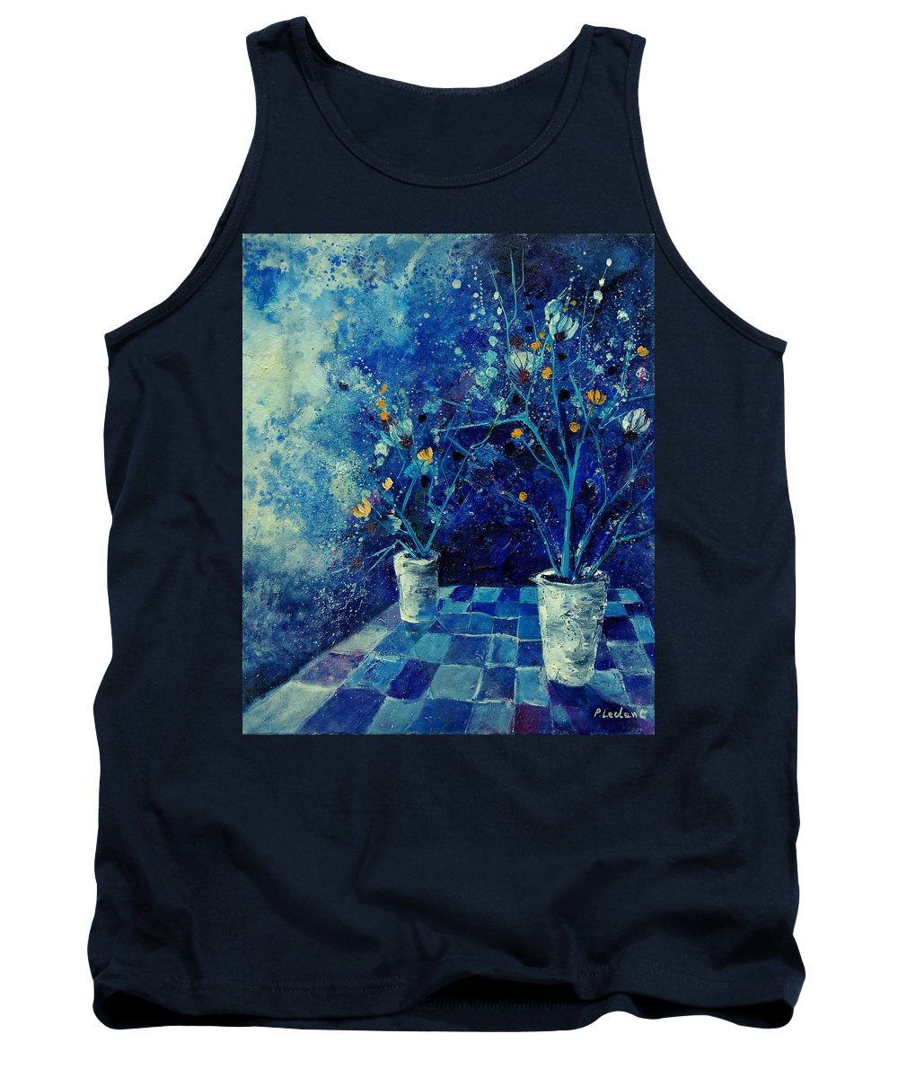 Flowers Tank Top featuring the painting Blue Bunch by Pol Ledent