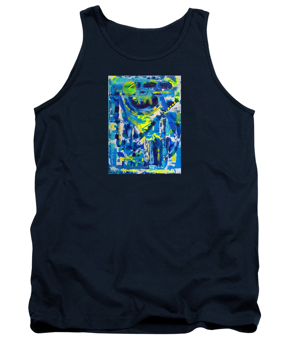 Abstract Tank Top featuring the painting Blue Moon City by J R Seymour