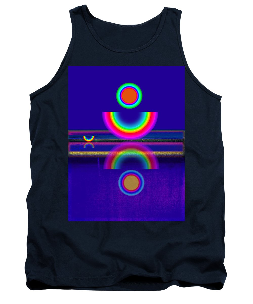 Reflections Tank Top featuring the painting Blue Moon Reflections by Charles Stuart