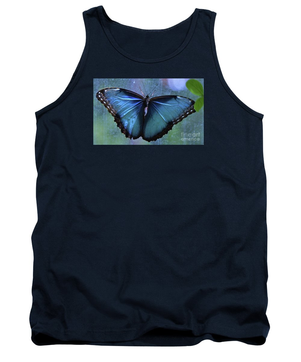 Butterfly Art Nature Blue Wings Minimal Delicate Creature Animal Portrait Canvas Print Metal Frame Poster Print Wood Print Available On Greeting Cards T Shirts Mugs Shower Curtains Tote Bags Throw Pillows Pouches Weekender Tote Bags Beach Towels And Phone Cases Tank Top featuring the photograph Blue Morpho Butterfly Portrait by Marcus Dagan