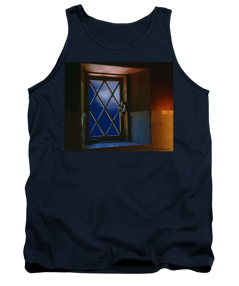 Window Tank Top featuring the painting Blue Night Through Casement by RC DeWinter