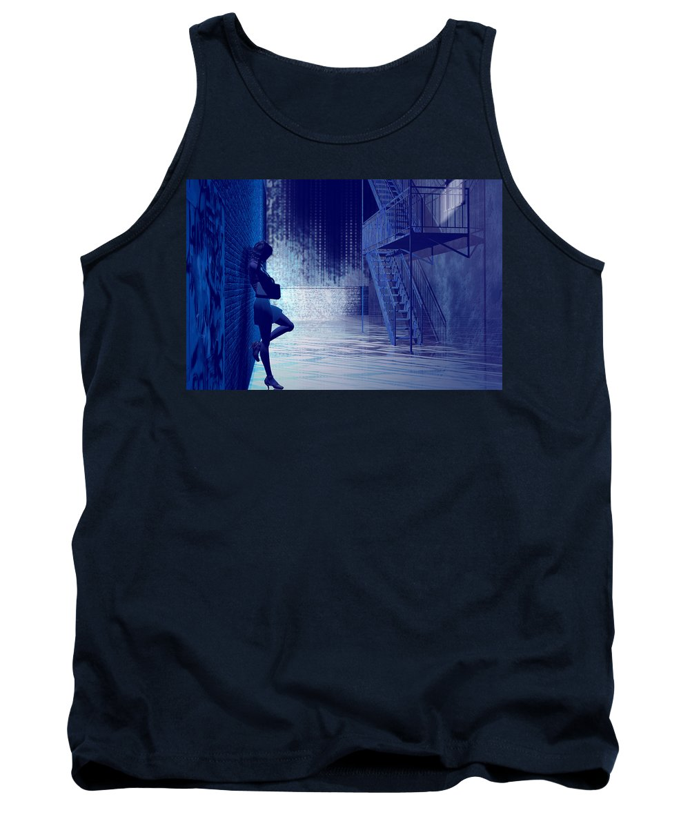 Alley Tank Top featuring the digital art Blues In The Night by Carol and Mike Werner