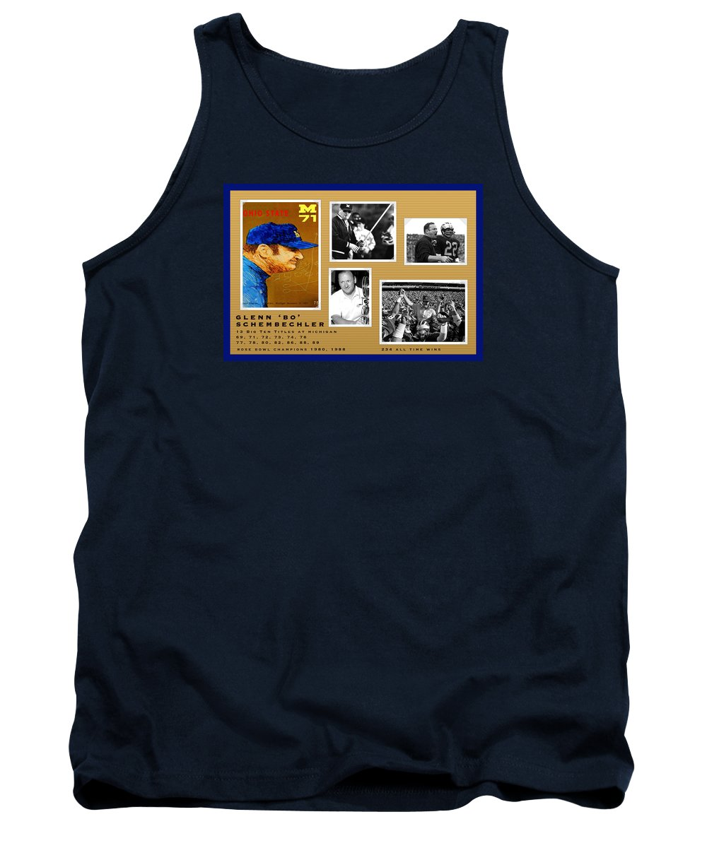 Bo Schembechler Tank Top featuring the painting Bo Schembechler Legend Five Panel by John Farr