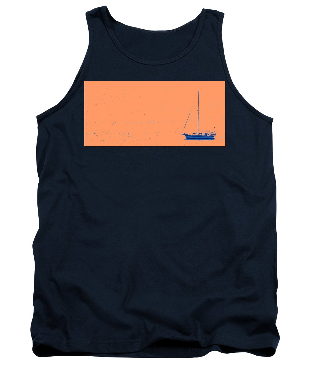 Boat Tank Top featuring the photograph Boat On An Orange Sea by Ian MacDonald