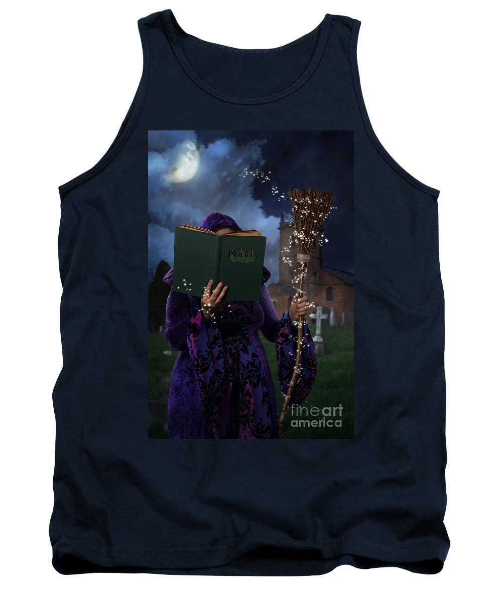 Cloak Tank Top featuring the photograph Book Of Magic Spells by Amanda Elwell
