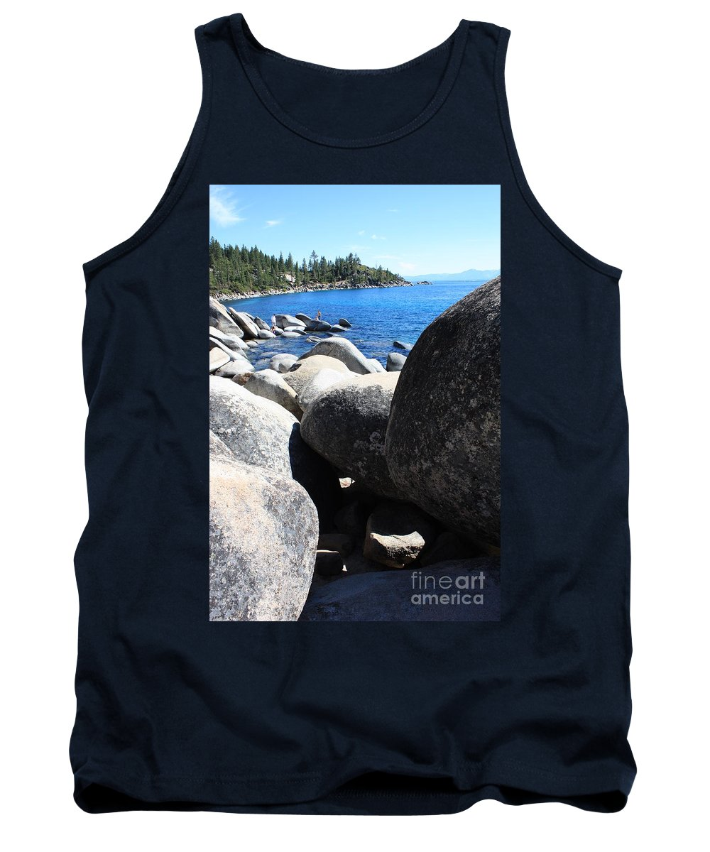 Boulders Tank Top featuring the photograph Boulders On Lake Tahoe by Carol Groenen